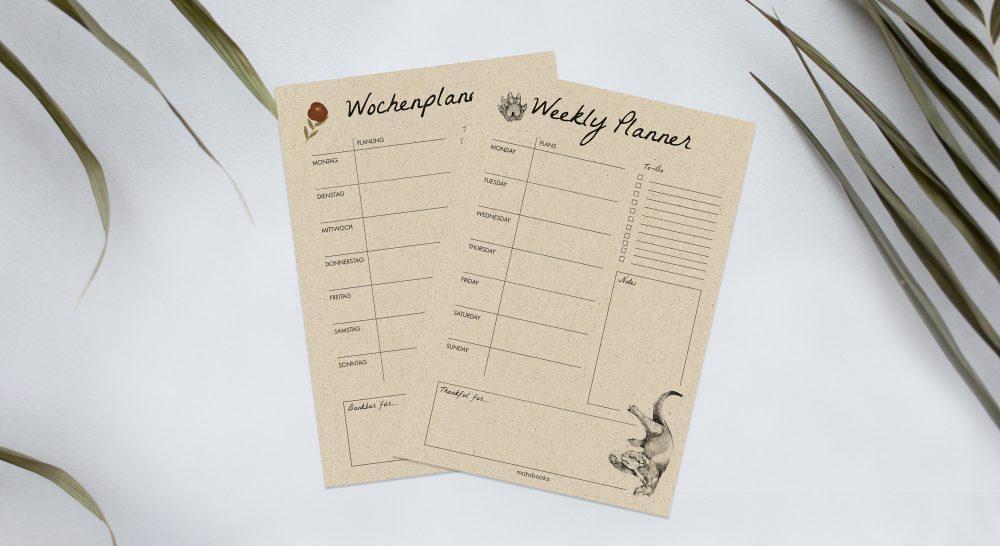 Wochenplaner aus Graspapier 5 Tipps für eine produktivere Woche Matabooks